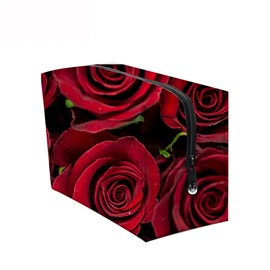3D Portable Red Roses Printed PV Cosmetic Bag