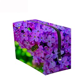 3D Portable Light Purple Phalaenopsis Printed PV Cosmetic Bag