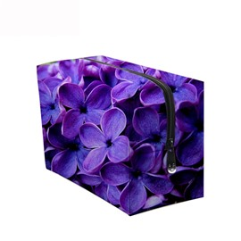 3D Portable Purple Phalaenopsis Printed PV Cosmetic Bag
