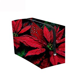 3D Portable Red Bromeliads Printed PV Cosmetic Bag