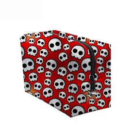 3D Portable Cute Skulls Printed PV Red Cosmetic Bag