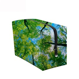 3D Portable Dense Forest Printed PV Green Cosmetic Bag