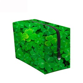 3D Portable Clovers Printed PV Green Cosmetic Bag