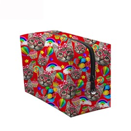 3D Portable Cats and Lollipops Printed PV Red Cosmetic Bag