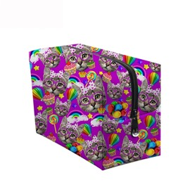 3D Portable Cats and Lollipops Printed PV Purple Cosmetic Bag