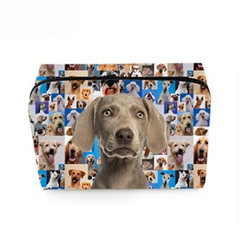 3D Portable Gray Hound Printed PV Cosmetic Bag