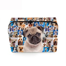 3D Portable Gray Pug Printed PV Cosmetic Bag