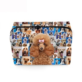 3D Portable Poodle and Various Dogs Printed PV Cosmetic Bag