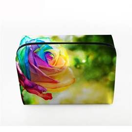3D Portable Colorful Rose Printed PV Cosmetic Bag