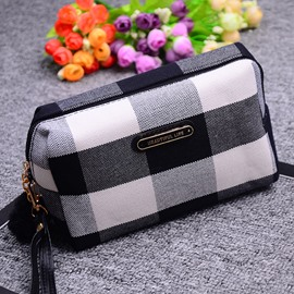 Plaid Stitching Ladies Canvas Cosmetic Bag