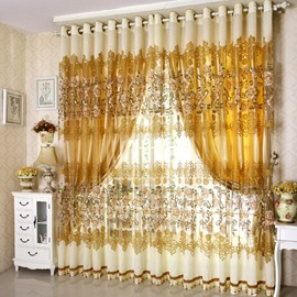 Luxury Gold Blackout Curtains for Bedroom Living Room Peony Embroidered Custom Sheer Curtains and Shading Cloth Set No Pilling No Fading No off-lining