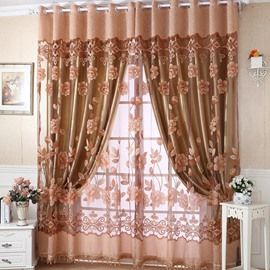 Blackout Floral Printing Champagne Sheer & Lined Curtain Set