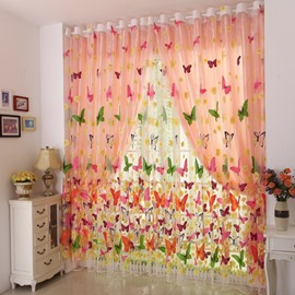 Colorful Butterfly Printed Grommet Top Sheer and Shading Cloth Curtain Set