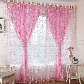 Decoration and Blackout Fresh Style Flower Printing Shading Cloth and Sheer Curtain Sets
