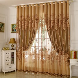 Exquisite Lily Embroidery Blackout Curtains for Living Room Bedroom No Pilling No Fading No off-lining Heat Insulation Shading Cloth & Sheer Set