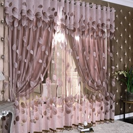 Gilding Jacquard Leaf Pattern Purple Sheer and Lined Living Room Curtain Sets