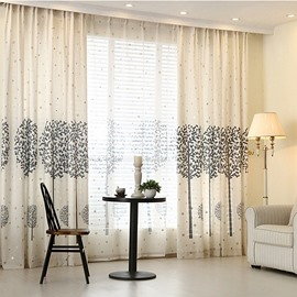 Concise Grey Tree Printing Shading Cloth & Sheer Curtain Sets