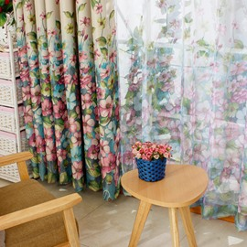 Floral Printing Green Shading Cloth & Sheer Curtain Sets