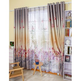 Colored Lily Printing Shading Cloth and Sheer Curtain Sets for Living Room and Bedroom