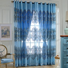 Sapphire Damask Printing Decor Sheer and Shading Cloth Curtain Sets