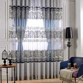 Modern Decor Stripes Printing Grey Sheer & Blue Shading Cloth Curtain Sets
