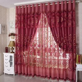 Decoration Romantic Red Peony Jacquard Shading Cloth and Sheer Room Curtain Sets