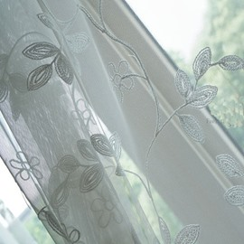 Blackout Blending Embroidery Small Flowers Concise Style Japanese Curtain Sets