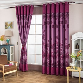 Wonderful Red Rose Embroidered Flowers Thick Polyester Living Room Blackout Curtain Set