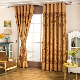 Wonderful Golden Embroidered Flowers Thick Polyester Living Room Blackout Curtain Set