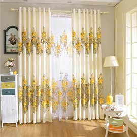 Blackout and Heat Insulation Feature Polyester Material European Style Curtain Sets