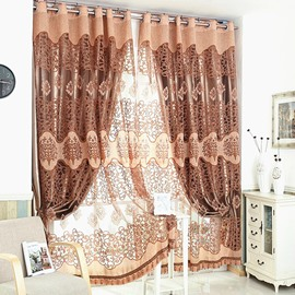 Jacquard Technics Polyester Material Plant Pattern Curtain Sets