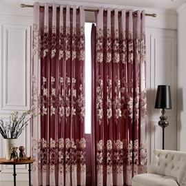 European Style Floral Pattern Blackout Feature Polyester Material Curtain Sets