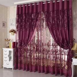 Floral Pattern Jacquard Technics European Style Polyester Material Curtain Sets