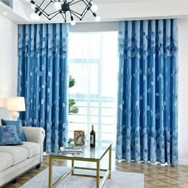 Jacquard Technics Decorative Feature Polyester Material Plant Pattern Curtain Sets