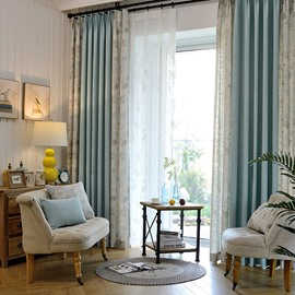 Polyester Material Floral Pattern Blackout Feature Jacquard Technics Curtain Sets