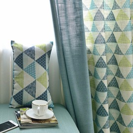 Triangle Pattern Polyester Material Decoration Feature Jacquard Technics Curtain Sets