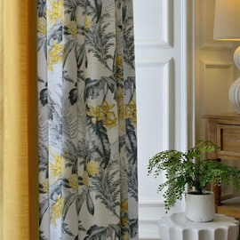 Chinese Ink Painting Pattern Blackout Feature Polyester Material Curtain Sets