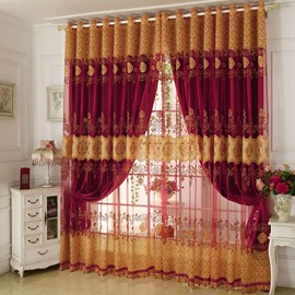 Classical Red Pattern Shading Sheer Beads Polyester Curtain