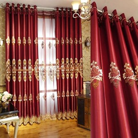 Red Classical Pattern High Quality Polyester Curtain