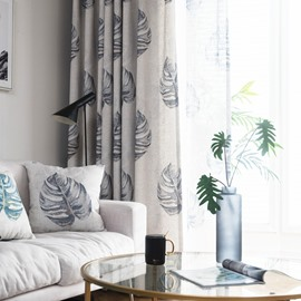 Plant Pattern Monstera Polyester Material Curtain Sets