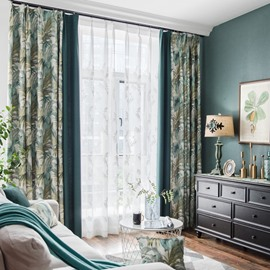 Green Plant Pattern Size Customization Room Darkening Curtain