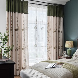 Green and White Vine Pattern Size Customization Curtain