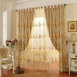 Shading and Sheer Sewing Together Embroidery Floral Curtain Sheer Sets