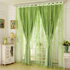 Green Leaves Shading Cloth and Sheer Sewing Together Bedroom Curtain Set
