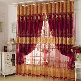 Shading and Sheer Together Embroidery Floral Bedroom Curtain Sets