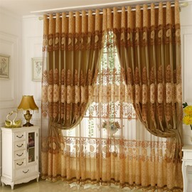 Room Darkening Ochre Curtain Sets Polyester Blend Super Heavy and Soft Handy Feeling Eco-friendly Blocks Out Noise Reducing Privacy Protection and Energy Efficiency No Pilling No Fading No off-lining