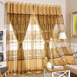 Golden Burnout and Embroidered Floral European Style Blackout Curtain Set