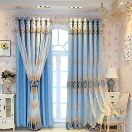 Elegant and Luxury Embroidered Blackout Custom Teal Curtain Sets for Living Room Bedroom 84W 84L 2 Panel Set Noise Reducing Privacy Protection and Energy Efficiency Physically Blocks Light