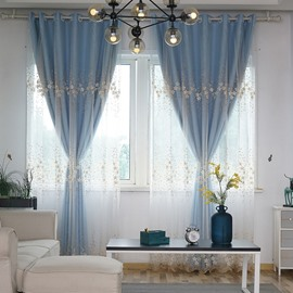 Elegant Embroidered Blackout Custom Teal Curtain Sets for Living Room Bedroom 84W 84L 2 Panel Set Physically Blocks Light Nicely Prevents UV Ray Excellent Performance on Room Darkening