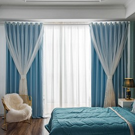Modern Blackout Custom Teal Curtain Sets for Living Room Bedroom 84W 84L 2 Panel Set Physically Blocks Light Nicely Prevents UV Ray Excellent Performance on Room Darkening